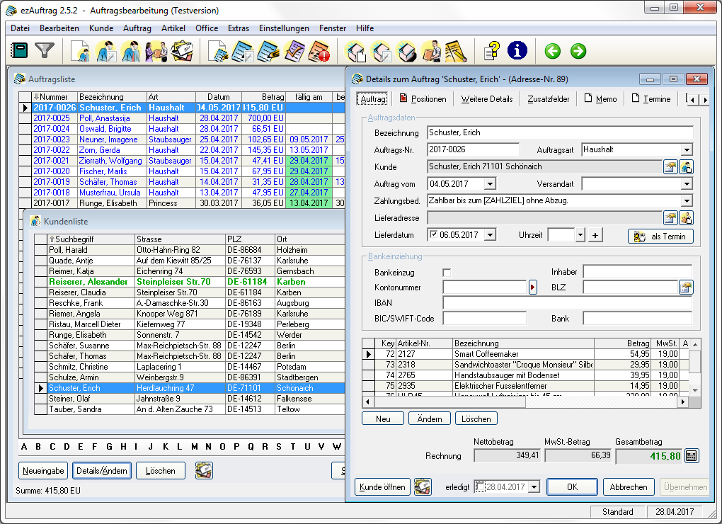 Screenshot ezAuftrag 2.5.2