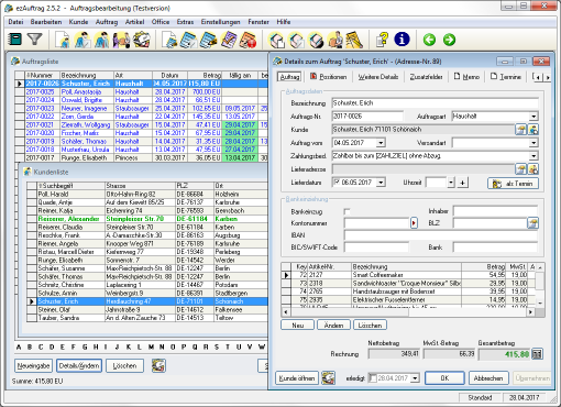 Screenshot ezAuftrag 2.5.1